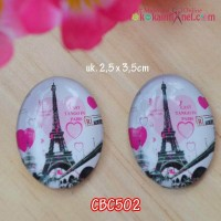 CBC502	Cabochon Love Eiffel Paris uk 2,5x3,5cm (Per Satuan)